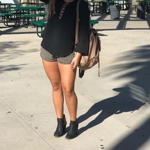 Black Blouse AND/OR Army Green Shorts